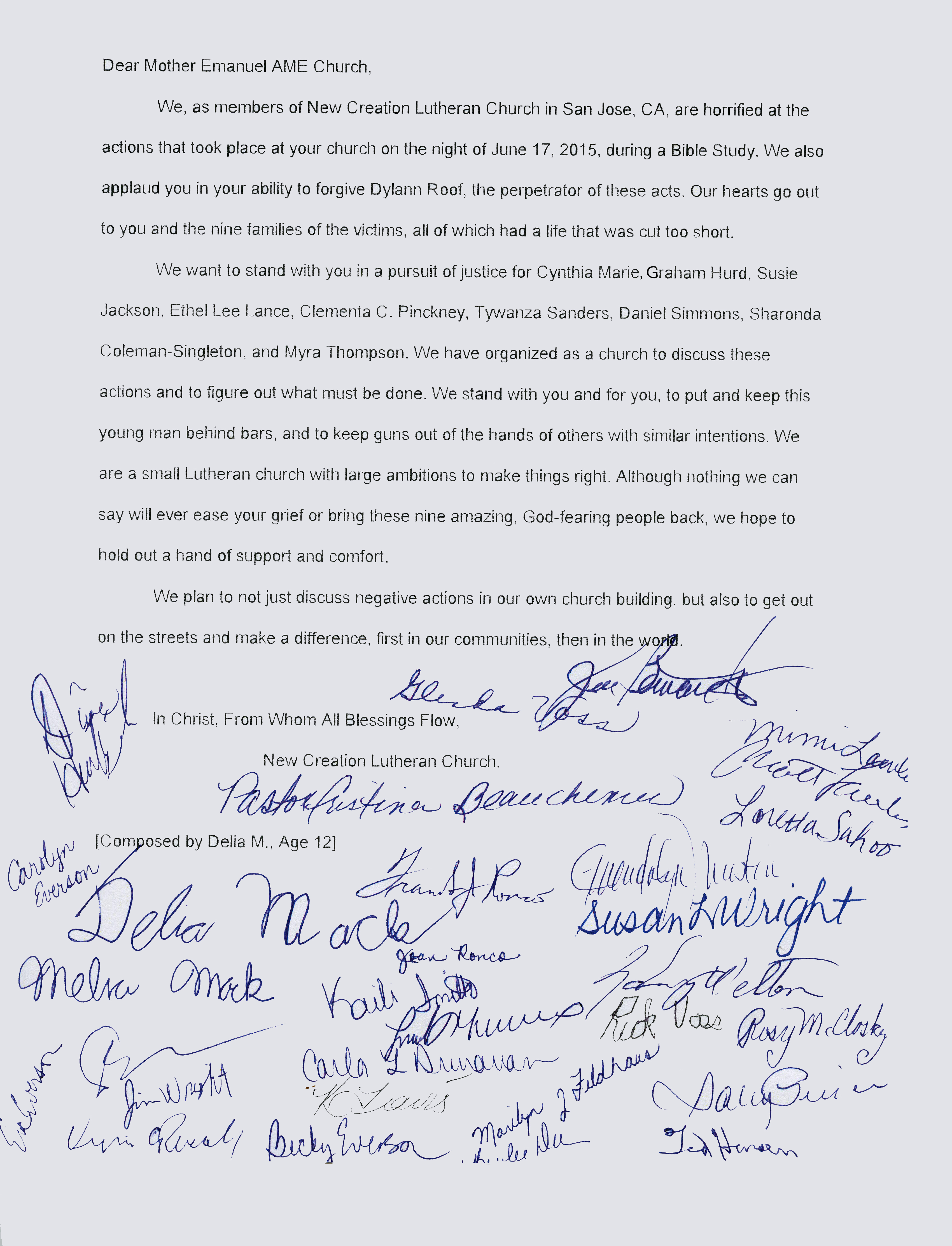 Letter to Mother Emanuel AME Church